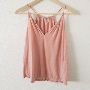 Madewell Pink Shirred Split Neck Tank